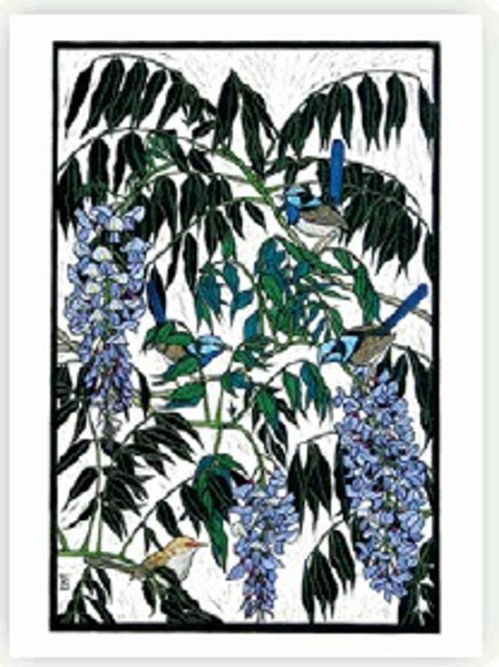 Wisteria and Blue Wrens Card