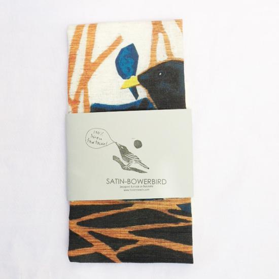 Satin Bowerbird Tea Towel