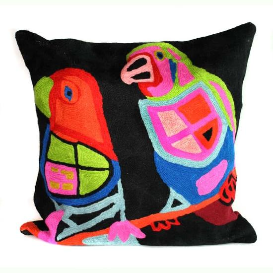 Cushion Cover - Finches at Yuendumu - Wool 40cm