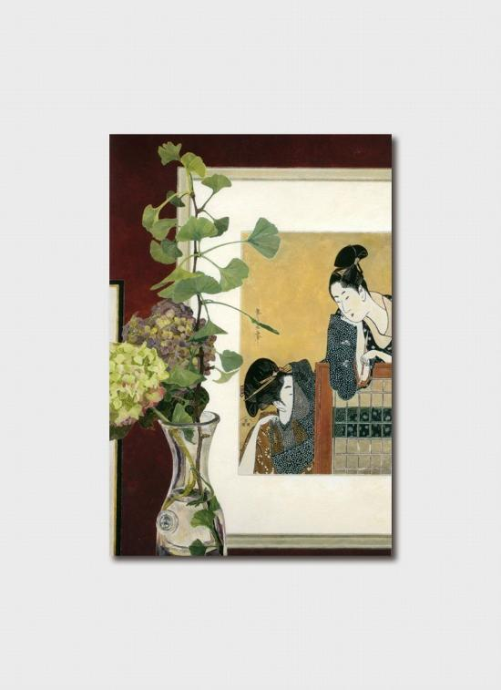 Card - Utamaro Print with Ginkgo and Hydrangeas