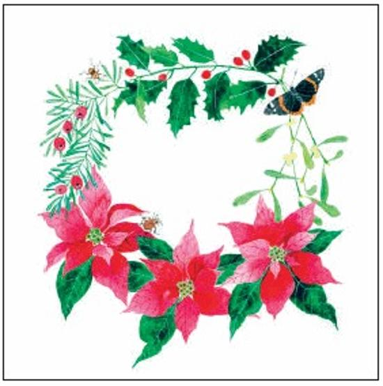 Christmas Card - Butterfly and Poinsettia