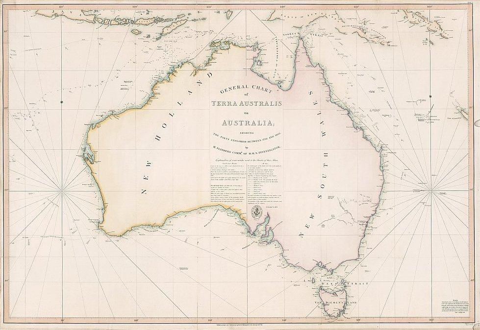 Map Poster - OW9: 'General chart of Terra Australis or Australia' M. Flinders Commr. of H.M.S. Investigator, 1822 [1814].- MOW1