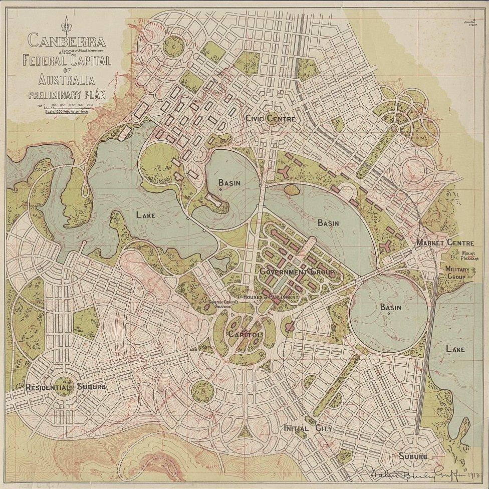 Map Poster - ACT03: 'Canberra Federal Capital of Australia preliminary plan' Walter Burley Griffin , 1913.