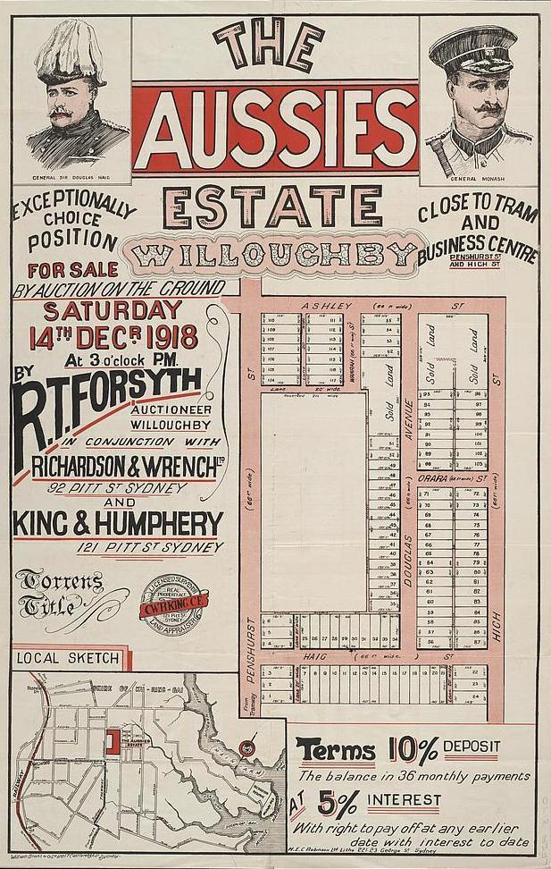 Map Poster - NSW06: 'The Aussies estate, Willoughby',  H E C Robinson, 1918.