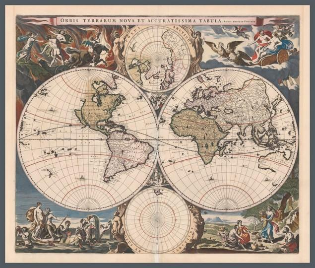 Map Poster OW10 - 'New and Very accurate map of the world', 1658