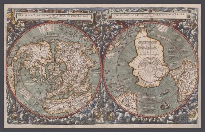 Map Poster - MOW4 - 'Polar Hemispheres' From Cornelis de Jode, The Mirror of the World, Antwerp, 1593