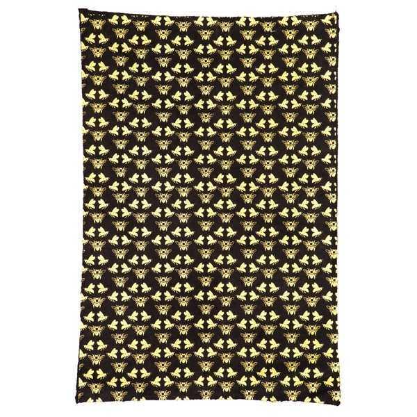 Gift Wrap - Gold Bees on Black