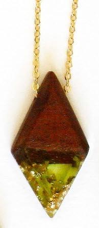 Necklace - Rhombus Pendant, Red Gum, Green Resin, Gold Leaf