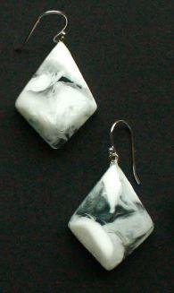 Earrings - rhombus shaped with white and clear resin