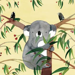 Card - Koala and Magpies in Tree - Jesses' Mess