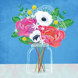 Card - Flowers in Glass Vase on Blue