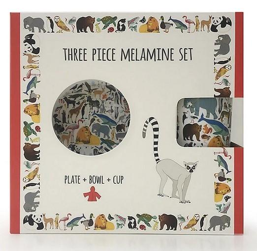 101 Animals Three Piece Melamine Set - Cup, Plate and Bowl