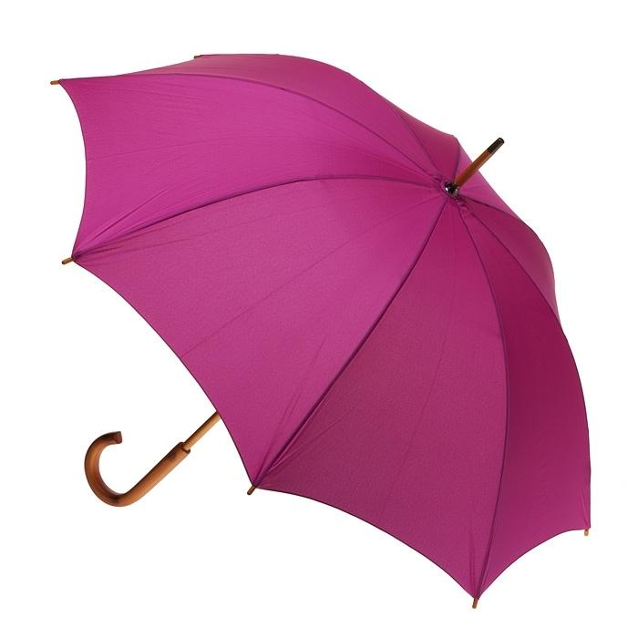 Umbrella - Fuschia - Wood Shaft and Handle