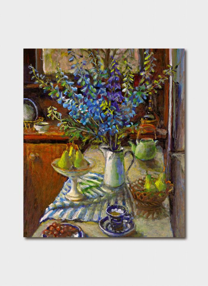 Card - Delphiniums and Pears
