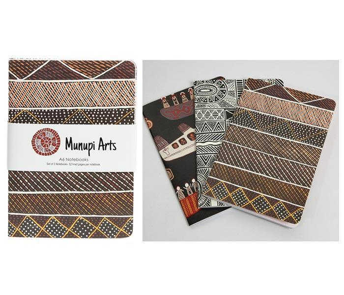 Munupi Arts - set of 3 A6 Notebooks