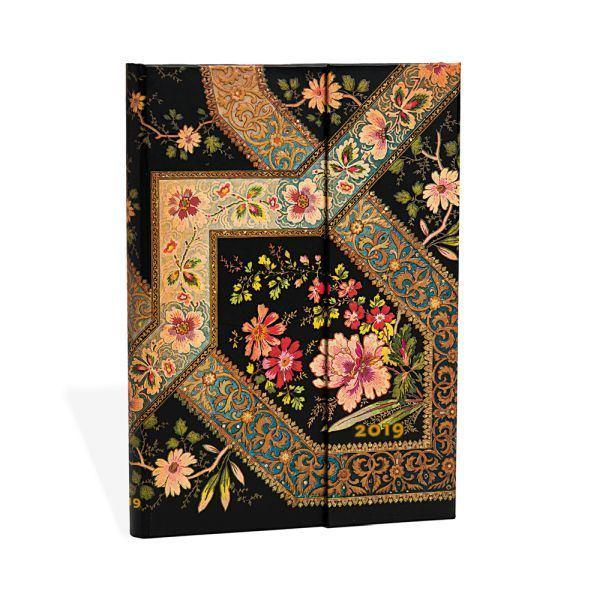 2019 Diary Filigree Floral Ebony, Midi, Horizontal Week at a Time