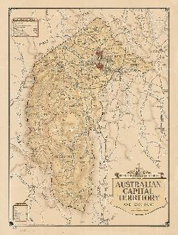 Map Poster - ACT01: 'Feature map of the Australian Capital Territory and environs' Federal Capital Commission, Canberra, 1946.