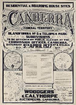 Map Poster - ACT04: 'Residential & boarding house sites Canberra Federal Territory,  <br>Blandfordia No. 5 & Telopea Park',  Federal Capital Commission , 1927.