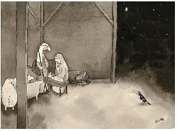 Adoration of the Magpie - Michael Leunig Greeting Card Christmas
