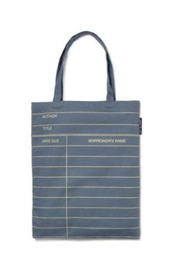 Tote Bag - library card (gunship grey)