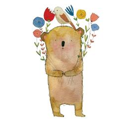 Card - Small Bear, Bird and Flowers - Jesses' Mess
