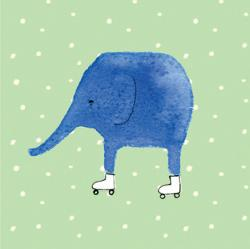 Card - Elephant on Rollerblades - Jesses' Mess