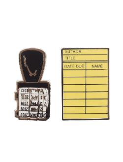 Enamel Pin Set - Library Card and Stamp