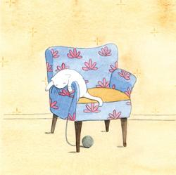 Card - Cat on a Chair Playing with Ball of Wool