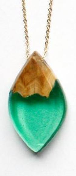 Necklace - eye shaped pendant mallee wood and light green resin