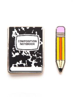 Enamel Pin Set - Notebook and Pencil