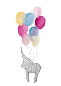 Card - Birthday Ballons and Elephant
