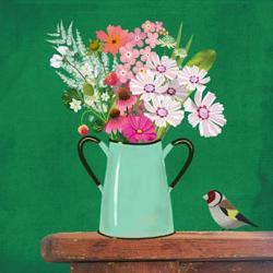 Card - Bird with Flowers in Watering Can on Green