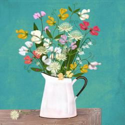 Card - Flowers in Watering Can on Teal