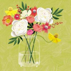 Card - Flowers in Vase with Yellow Background