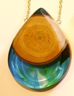 Necklace - tear drop pendant, young red gum and green resin