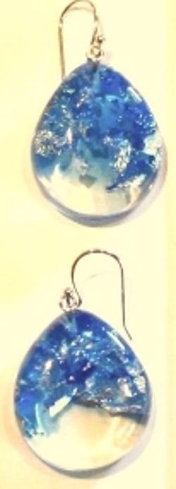 Earrings - Egg shaped dangle earrings, royal blue and clear resin, silver leaf flakes