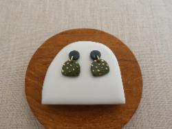 Earrings - Moon and Mountain Studs - Matcha and Black