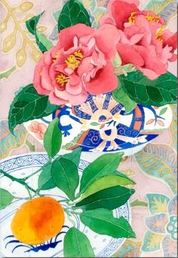 Card - Camelias and Oranges