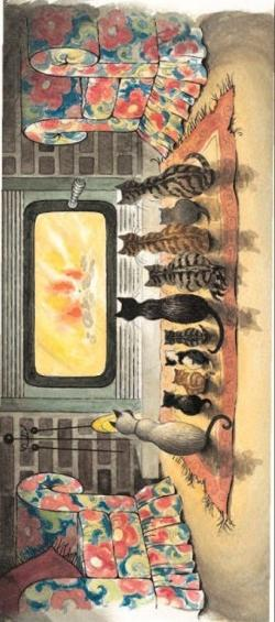 Bookmark - Cats in front of Fireplace