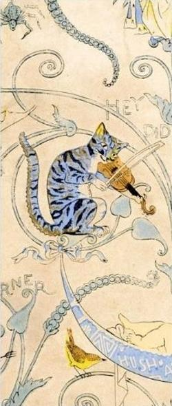 Bookmark - Art Nouveau Cat and the Fiddle
