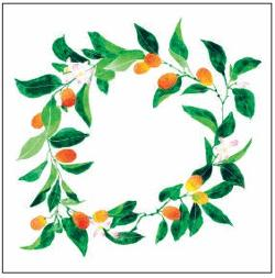 Christmas Card - Peach Wreath
