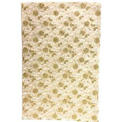 Gift Wrap - Mums Flower Gold/White on White