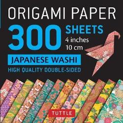 "Origami Paper 300 sheets Japanese Washi Patterns 4"" (10 cm) - High-Quality Origami Sheets Printed with 12 Different Designs"