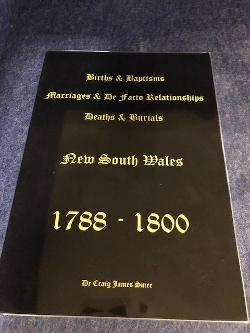 Births, Baptisms, Marriages, Defacto Relationshiops, Deaths and Burials NSW 1788 - 1800